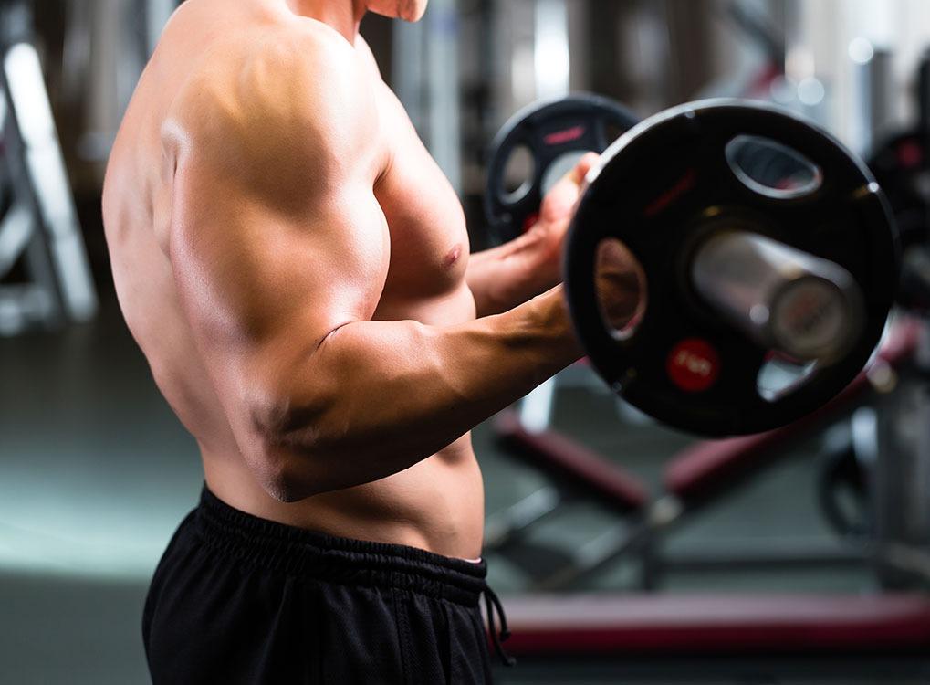Man, lifting weights