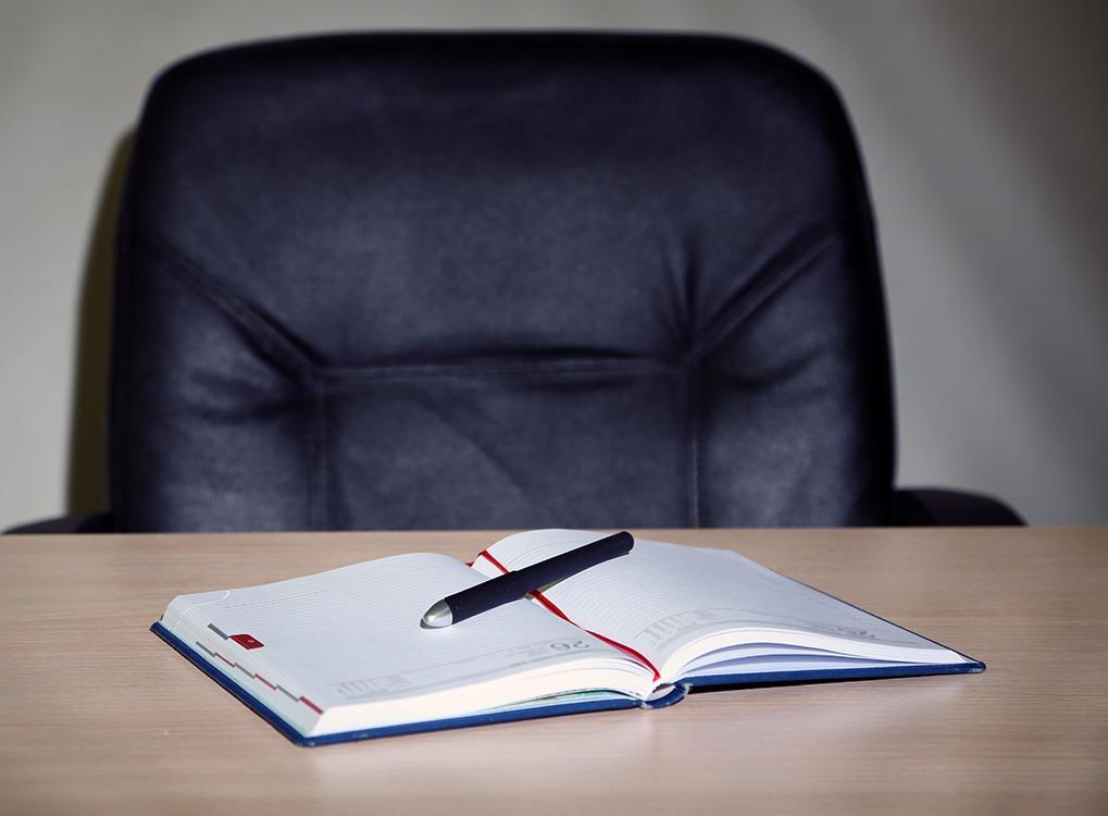 notebook at desk