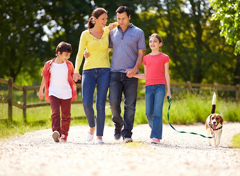 Family Walking Dog Parenting