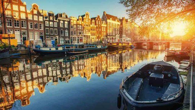 Shot of scenic Amsterdam, the Netherlands