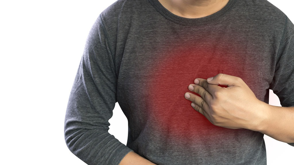 healthy man with chest pain