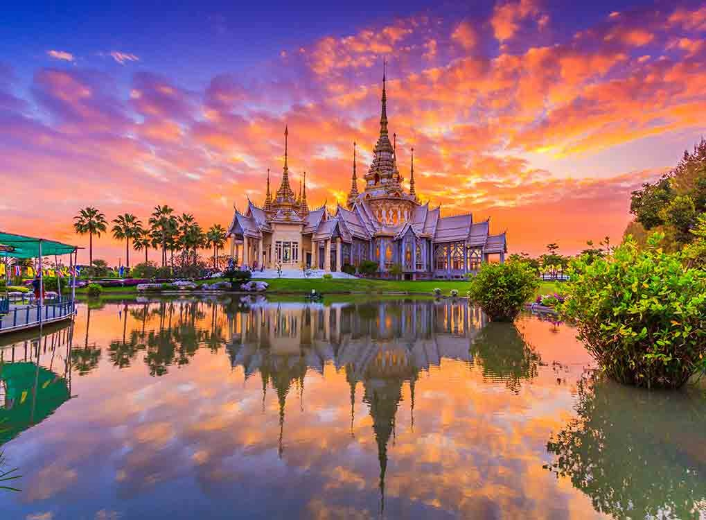 Scenic shot of Thailand at sunset