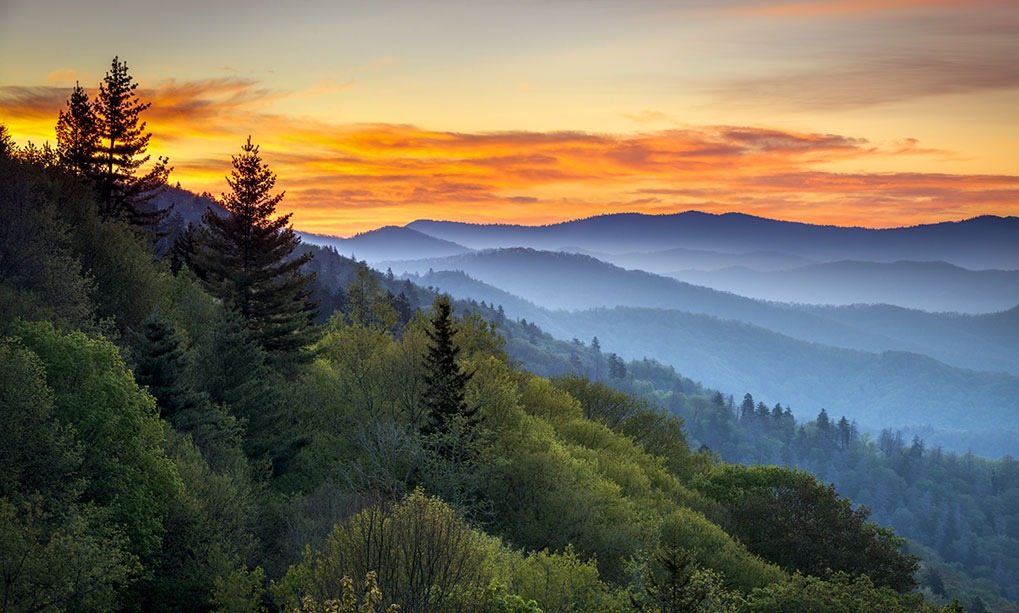 sunset over great smoky mountains