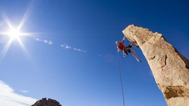 Rock climber joshua tree