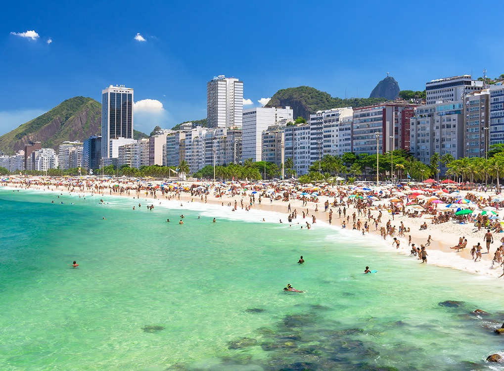 Crowded Brazilian beach during the day